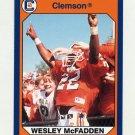 1990-91 Clemson Collegiate Collection #115 Wesley McFadden - Clemson Tigers