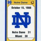 1990 Notre Dame 200 Football #198 1988 Miami