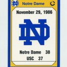 1990 Notre Dame 200 Football #197 1986 USC