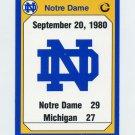 1990 Notre Dame 200 Football #189 1980 Michigan