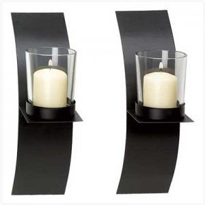 Set of 2 Mod-Art Candle Sconce Duo