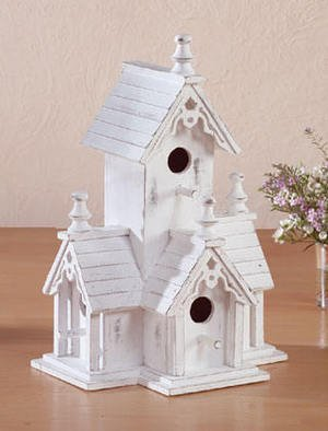 White Finished Wood Victorian Birdhouse