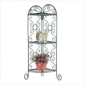 Wrought Iron Corner Plant Stand with 3 Shelves