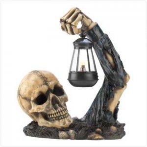 Sinister Ghostly Grinning Skeleton Skull With Lantern