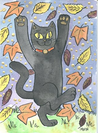 Maneki Neko Lucky Black Cat Dancing in Autumn Leaves ACEO Print