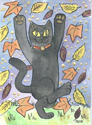 Maneki Neko Lucky Black Cat Dancing in Autumn Leaves ACEO Print