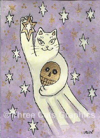 Maneki Neko Ghost Cat with Golden Skull ACEO Print
