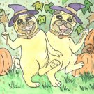A Bewitching Pair of Witch Pugs in Pumpkin Patch ACEO Print