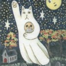Ghost Neko Cat with Skull Flying Over Cemetery Full Moon ACEO Print Autumn Halloween