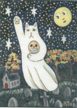 Ghost Neko Cat with Skull Flying Over Cemetery Full Moon ACEO Print Autumn Halloween