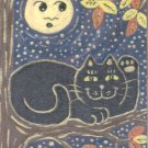 Lucky Black Neko Cat in Autumn Tree with Full Moon ACEO Print Halloween