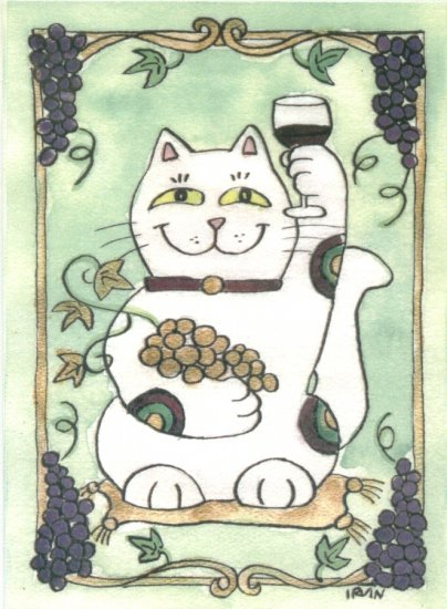 Maneki Neko Lucky Calico Cat Who Drinks Red Wine ACEO Print