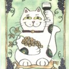 Maneki Neko Lucky Calico Cat Who Drinks Red Wine ACEO Print