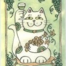 Maneki Neko Lucky Calico Cat Who Drinks White Wine ACEO Print