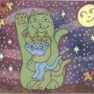 Green Gold & Blue Lucky Maneki Neko Cats Healthy Wealthy & Wise ACEO Print