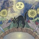 Lucky Black Cat in Garden with Dragonflies Sunflowers & Full Moon ACEO Print
