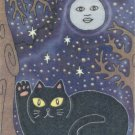 Lucky Maneki Neko Black Cat with Blue Moon ACEO Print