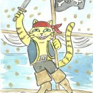 Lucky Neko Pirate Cat on Mast with Cat Jolly Roger ACEO Print
