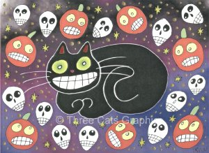 Halloween Daydream Black Cat Skulls JOLs Limited Edition Mixed Media Print