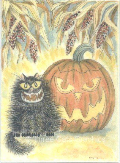 Halloween Smiles Black Cat Jack O Lantern Autumn Halloween ACEO Print