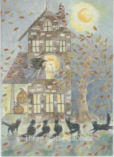 Calling the Black Cats at Midnight Full Moon Autumn Halloween ACEO Print