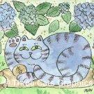 Lucky Blue Hydrangea Flower Neko Cat ACEO Print