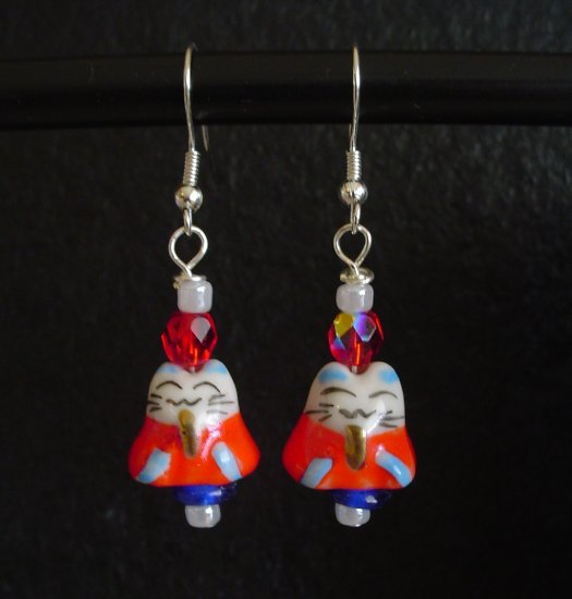 Red White and Blue Neko Kitty Cat Earrings