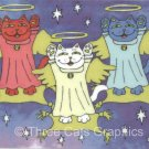 Red White and Blue Guardian Angel Maneki Neko Lucky Cats ACEO Print