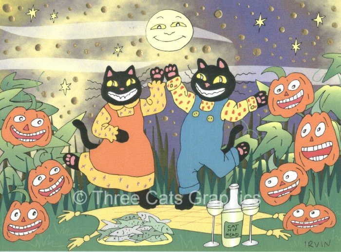 Black Cats JOLs Catnip Mead Halloween Soiree Limited Edition Mixed Media Print