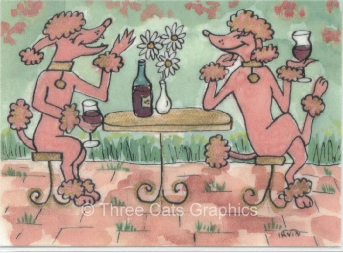 Pink French Poodles Enjoying Fine Claret Wine ACEO Print