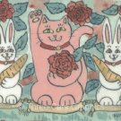 Red Roses White Bunny Rabbits Pink Maneki Neko Lucky Cat Rose Garden ACEO Print