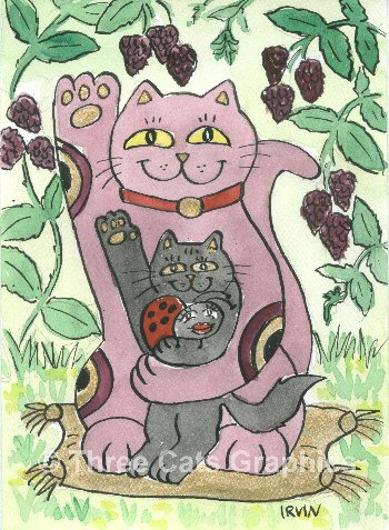 Maneki Neko Raspberry Lucky Cat with Black Kitten and Ladybug ACEO Print