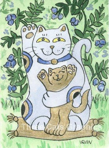Maneki Neko Lucky Blueberry Cat with Golden Kitten ACEO Print