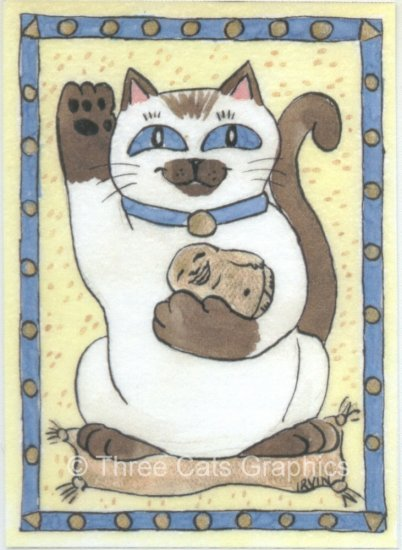 Maneki Neko Lucky Siamese Cat with Buddha ACEO Print