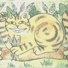 Lucky Maneki Neko Marbled Tabby Cat in Catnip Patch ACEO Print