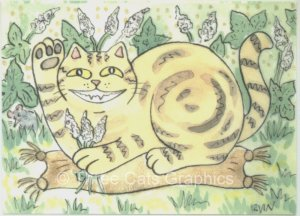 Lucky Maneki Neko Marbled Tabby Cat in Catnip Patch ACEO Print