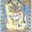 Lucky Pug Dog with Lucky Neko Kitten and Yin Yang Balloon ACEO Print