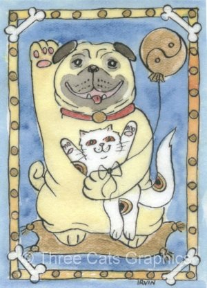 Lucky Pug Dog with Lucky Neko Kitten and Yin Yang Balloon ACEO Print