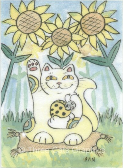 Lucky Ladybug with Maneki Neko Lucky Cat and Sunflowers ACEO Print