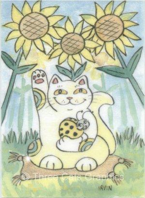 Lucky Ladybug with Maneki Neko Lucky Cat and Sunflowers ACEO Print