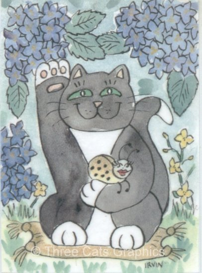 Maneki Neko Lucky Tuxedo Cat with Ladybug Mascot ACEO Print