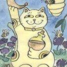 A Good Fortune Toast to Mead Honey Wine Lucky Maneki Neko Kitty Cat Bees ACEO Print