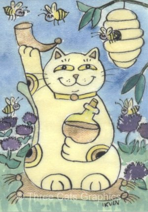A Good Fortune Toast to Mead Honey Wine Lucky Maneki Neko Kitty Cat Bees ACEO Print