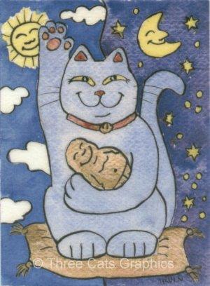 Blue Maneki Neko Lucky Cat with Buddha on Gold Pillow Sun and Moon ACEO Print