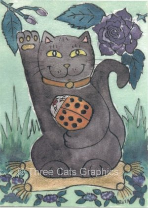 Maneki Neko Lucky Black Cat with Orange Ladybug & Purple Rose ACEO Print