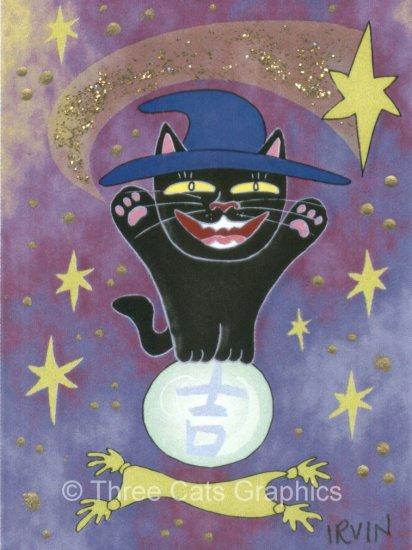 Good Luck is Predicted Maneki Neko Lucky Black Cat in Blue Witch Hat Star Limited Edition ACEO Print