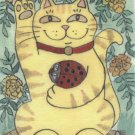 Lucky Tabby Maneki Neko with Red Ladybug and Marigolds ACEO Print