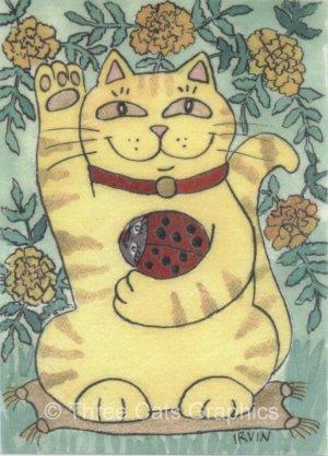 Lucky Tabby Maneki Neko with Red Ladybug and Marigolds ACEO Print
