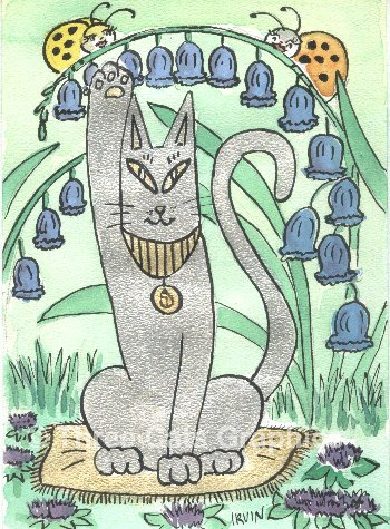 Bluebells & Bast Egyptian Cat Goddess ACEO Print