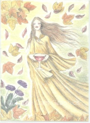 Autumn Wine Fall Leaves Red Wine ACEO Print